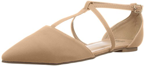 Brinley Co Women's Kelton Ballet Flat, Nude, 10 Regular US