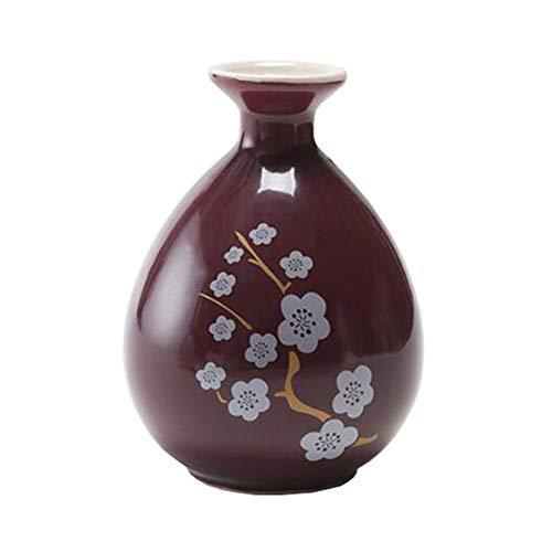 Mini chinesische Keramik Blumenvase Bud Vase Weinflasche, ideales Geschenk für Home Office, Dekor, Tischvasen, Bücherregal Ornamente Flaschen, Karminrot Pfirsichblüte