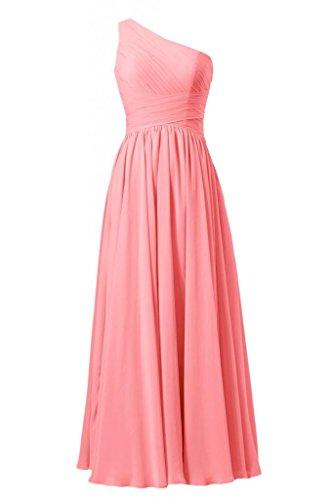 daisyformals Vintage Longueur au sol robe pour soirée déguisée une épaule robe de demoiselle d'honneur en mousseline (bm351l) Rouge - #14-Light Coral