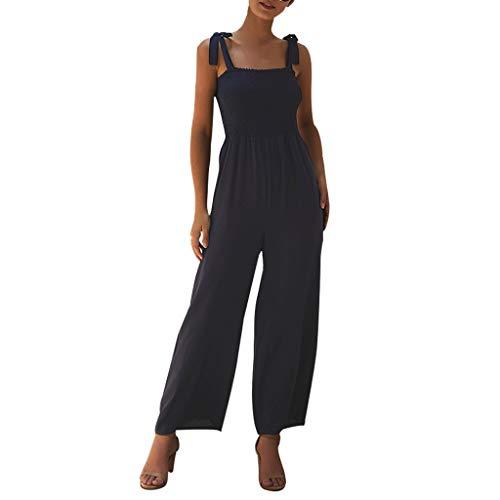 Yvelands Damen Jumpsuit Fashion Casual Solide Ärmelloses Leibchen Damen Wide Leg Long Jumpsuit(Marine,L)