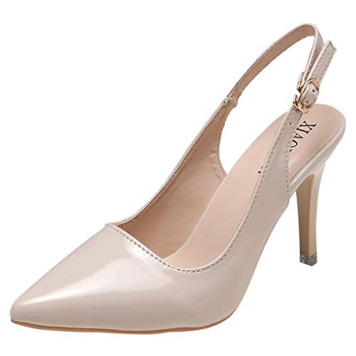 Damen Slingback Pumps Klassische High Heels Spitz Geschlossene Zehen Knöchelriemen Sommerkleid Schuhe Open Back Lackleder Pumps für Damen 5-zoll-slingback Pump
