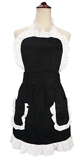 lilments Damen Rüsche Outline Retro Schürze Küche Kuchen Backen Kochen Cleaning Maid Kostüm Mit Taschen (Halloween Kostüm Schurz)