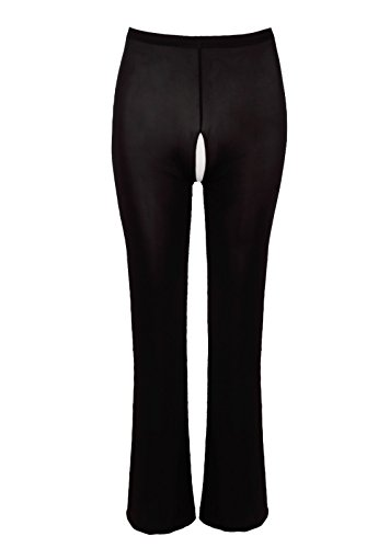 FEESHOW Damen Transparent Pants Leggings Lange Pants Ouvert Hüfthalter Figurformend Schwarz Ouvert XL