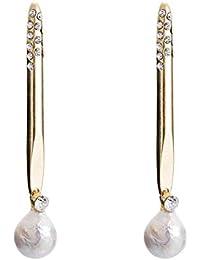 2b539768e5d9 GRRNUY Simple Flash Metal perforar Priled Perla con tornillos de oreja  Plata 925 Aguja Pendientes niña