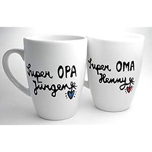Geschenk Großeltern, Oma und Opa, Tassenset Oma und Opa, personalisierbar, handbeschriftet, handbemalt
