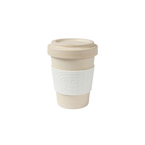 BIOZOYG Tasse à café Durable Bambou avec Couverture et Manchon en Silicone I Une Tasse pour des Boissons Chaudes, Cacao, thé et Bio Bambou sans BPA I Blanc 300 ML