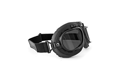 Gafas de Moto Mascara Vintage style lente gris by Bertoni Italy – AF195C negra – Gafas Motoristas para Cascos Moto Harley y Chopper