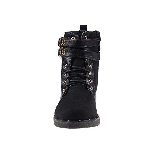 4808 Fashion4young Leggero Da Donna Stivali Stivaletti Booties Lace Up Rivetti Neri