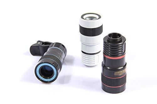 J&A 8X Zoom-Telephoto-Objektiv, Handy-Universal Kamera-Objektiv Mit Staubabdeckung Und Aufbewahrungsbeutel Für iPhone, Android, Samsung-Handys Und Tablets. 50M Effektive Distanz,White 50 White Handy