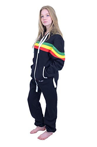 The Classic Unisex Onesie in Black and Grn YEL Red Stripes - XL - 3