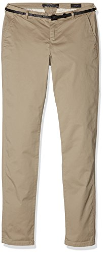 Scotch & Soda Maison Damen Hosen Medium Weight Pima Cotton Stretch Chino, Sold with Belt, Beige (Sand 06), W30/L30 (Pima-cotton-hose)