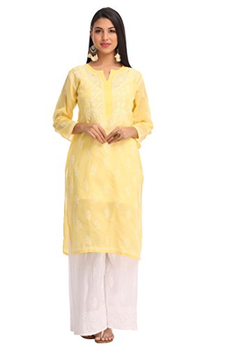 ADA Needlecraft Lucknowi Chikankari Womens Cotton Kurta Kurti (A232060_Yellow)