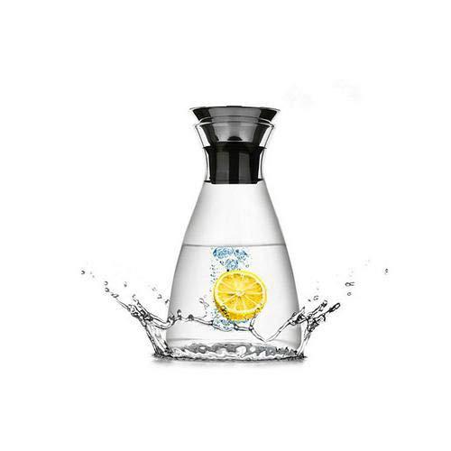 explosionsgeschützte Glaskaraffe hitzebeständigem Glaskanne Teekanne mit Deckel, aus Borosilikatglas Wasserkrug, mit Silikon Deckel, 1L/1.4L, Kalter Wasserkocher, Große Kapazität, Saftflasche