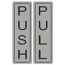 """do4u 1par Premium Horizontal Push Pull puerta signo 5.1""""x 1.6"""" acrílico grabado con láser y UV estable para interior y exterior. Vertical, color FLASH SILVER"""