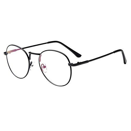 Forepin® Lunette de Vue Femme Homme Unisex Vintage Retro Monture Metalique Mode Fashion Eyeglasses Lunettes Verre Transparent Cadre Frame Lentille Claire - Noir