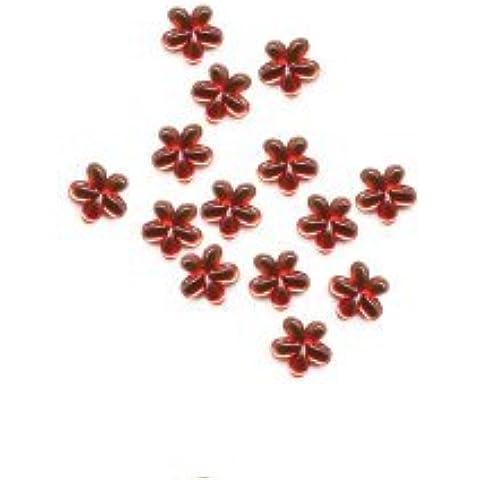 Strass-e brillantini, fiori form - ca, 50 pezzi. - 08 rosso