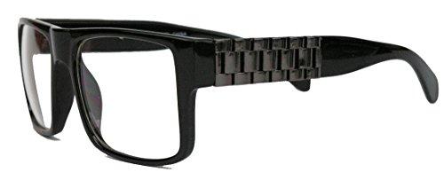 Herren Flat Top Retro Fashion Brille rechteckig Streberbrille Nerdbrille Gold Chain LXN (Schwarz / Gunmetal)
