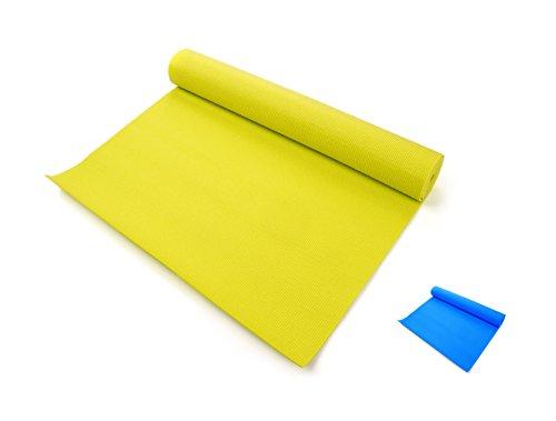 meteor® - Esterilla de gimnasia: muy ligera y duradera - Esterilla de yoga, de PVC material con estructura reforzada, suave goma 3 mm de grosor, plegable y fácil de transportar muy ancha 180 x 60 cm (verde)