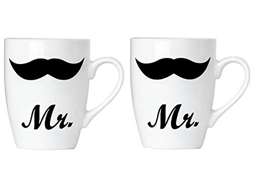 BRUBAKER - Coffret de 2 Mugs 'Mr. & Mr.' - Tasses à café en Céramique - Idée cadeau