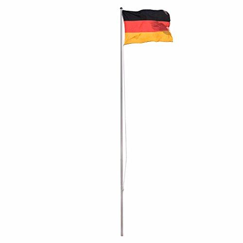 fahnenmast 3m Park Alley Fahnenmast Flaggenmast aus Aluminium und Bodenhülse 6,50 m, inkl. Deutschland Flagge 120 x 80 cm