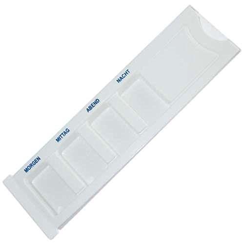 Medikamenten Tages-Dispenser weiß - 4 goße Fächer - mit transparentem Schiebedeckel