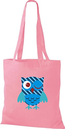 ShirtInStyle Jute Stoffbeutel Bunte Eule niedliche Tragetasche mit Punkte Owl Retro diverse Farbe, rosa