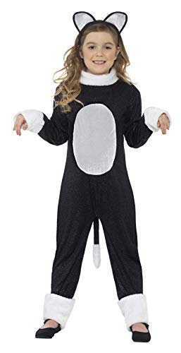 Smiffys Kinder Cool Cat Mädchen Kostüm, Jumpsuit mit Schwanz und Haarreif, Größe: S, 33156 (Für Coole Kostüme Mädchen)
