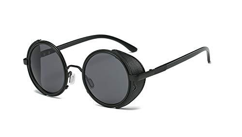 TYJMENG Sonnenbrillen Sonnenbrille Männer Sonnenbrille Retro Vintage Runde Metall Wrap Sonnenbrille Brille Uv400, C1 Full Black