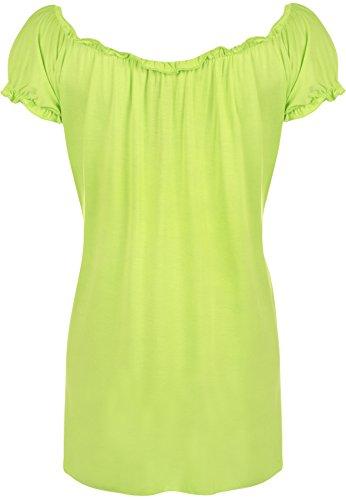 WearAll - Damen Übergröße Gypsy u-boot-ausschnitt boho Top - 18 Farben - Größe 40-58 Lime