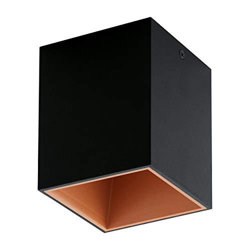 EGLO LED Deckenleuchte Polasso, 1 flammige Deckenlampe, Material: Aluminium, Kunststoff, Farbe: Schwarz, kupfer, L: 10x10 cm