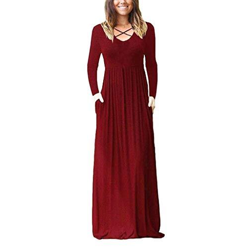 Babaseal Frauen Langarm-lose Plain Maxi Kleider beiläufige Lange Kleider mit Taschen (Farbe : Rot, Größe : Mittel)