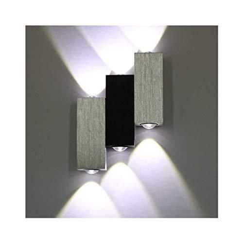 Lightess applique da parete interna in alluminio spazzolato 6w lampada moderna da muro per camera da letto soggiorno bagno bianco freddo