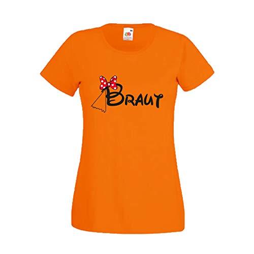 Damen T-Shirt JGA Junggesellinnenabschied Braut Team Gruppen Rundhals Shirt mit Spruch Ladyfit Braut Maus + Team Braut Orange - Braut XL
