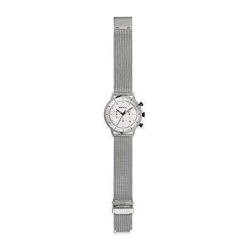 Breil - orologio da uomo elegante six.3.nine tw1810 - cronografo con quadrante bianco monocolore in vetro minerale - cassa in acciaio 44 mm - cinturino maglia milanese - movimento al quarzo - silver