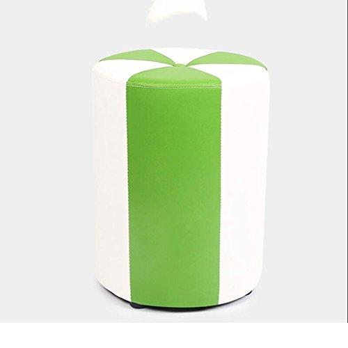Tabouret de canapé Xuan - Worth Having Blanc + Vert Cylindre Tabouret Bas Tabouret de Maquillage en Cuir pour Enfants Tabouret Étanche (31 * 31 * 40cm)