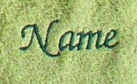 Seiftuch aus hochwertigem Frottee 30x30 cm Sylt limone mit Namensbestickung / bestickt mit Namen oder Wunschtext, Stickfarbe dunkelgrün 4326