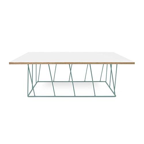 Paris Prix - Temahome - Table Basse Helix 120cm Blanc Mat & Métal Vert d'eau