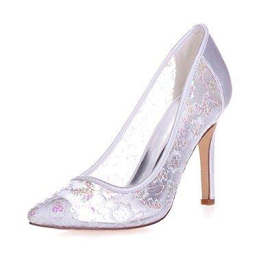 Wuyulunbi@ Scarpe donna Paillette Primavera Estate della pompa base scarpe matrimonio Stiletto Heel punta per la festa di nozze & Sera Bianco Rosso luce rosa Bianco