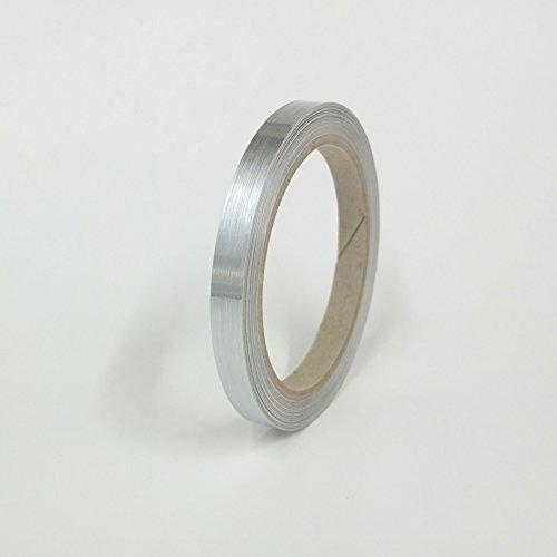 Preisvergleich Produktbild Zierstreifen - 10mm - Chrom gebürstet / geschliffen - Metall - 10M Rolle