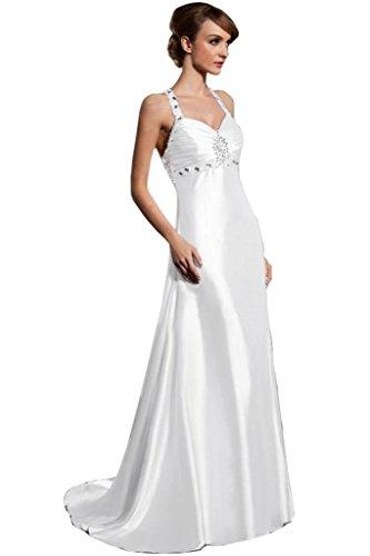 Lemandy Robe de soirée longue avec bretelles Blanc