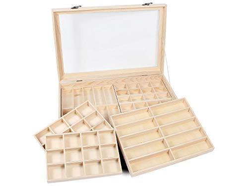 Holz Schmuck Vitrine (Alsino Setzkasten Sammler-Box aus Holz mit Glasscheibe Sortierbox für Figuren Schmuck Mineralien und Sammlerschätze, SK-20 45cm-30cm-8cm)