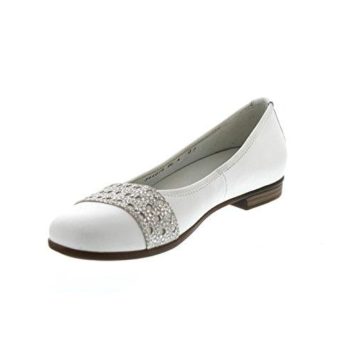 Waldläufer Hamiki, Ballerina, Memphis/Tago (Glatt-/Nubukled.) weiss/silber, Weite H 328008-308-150 Weiss / Silber