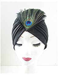 Black Peacock Feather Turban Vintage 1920s Great Gatsby Headpiece Cloche Hat U14 *EXCLUSIVELY SOLD BY STARCROSSED BEAUTY* by Starcrossed Beauty