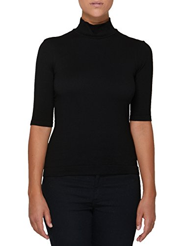 SENSI' Pullover Damen Rollkragen halber Arm Strickmode Made in Italy