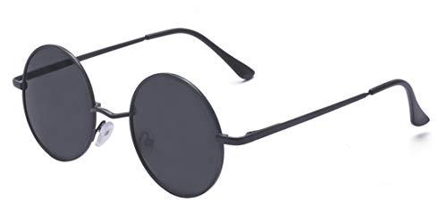 ALWAYSUV Runde Rahmen Vintage John Lennon Sonnenbrille Brillenfassung Hippe Brille Schwarz