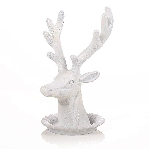 Azuo deer head gioielli albero orecchino, collana, anello e bracciale organizzatore, gioielli rack 7.7 pollici, marrone,white