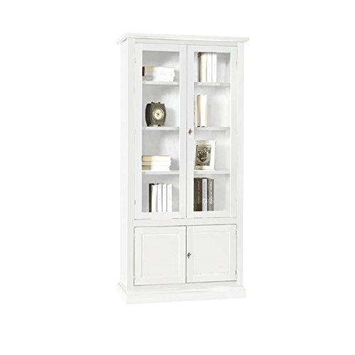 Inhouse srls vetrina, arte povera, in legno massello e mdf con rifinitura in bianco opaco - mis. 90x41x186h