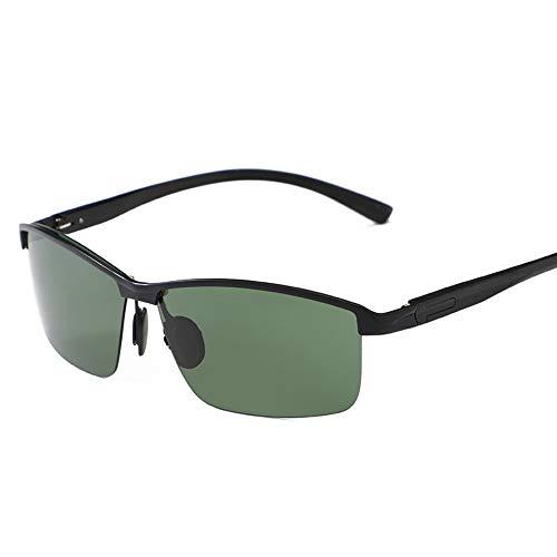 LLQ Aluminium-Magnesium-polarisierte Sonnenbrille für Männer, halbe Rahmenbrille, schwarzer Rahmen, dunkelgrüne Tabletten