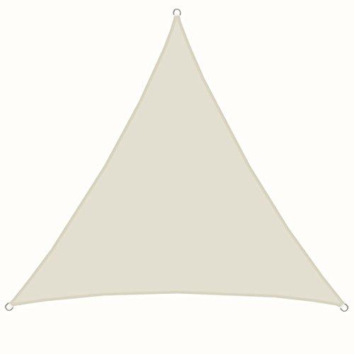 Amanka vela parasole xxl 4x4x4m tendone da ombreggiatura triangolare in poliestere idrorepellente upf50+ per giardino beige