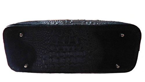 Borsa a mano in vera pelle scamosciata stampata cocco BC1032 Nero